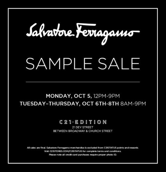 Ferragamo Sample Sale Returns Next Week