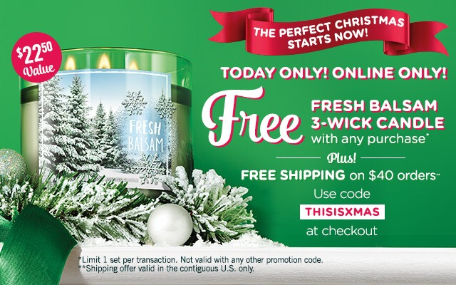 Online Deal – Free Candle At Bath & Body Works