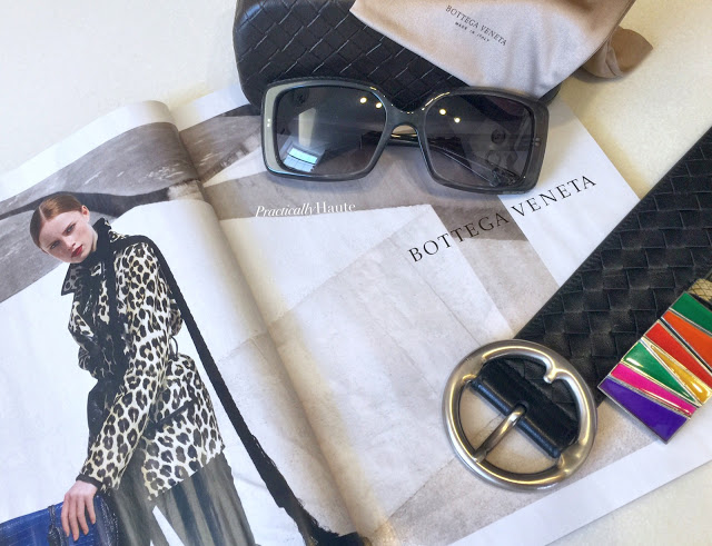 Bottega Veneta intrecciato case sunglasses and belt with buckle