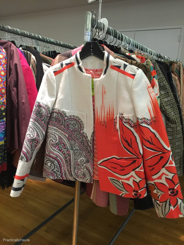 Etro sample sale red white print jacket
