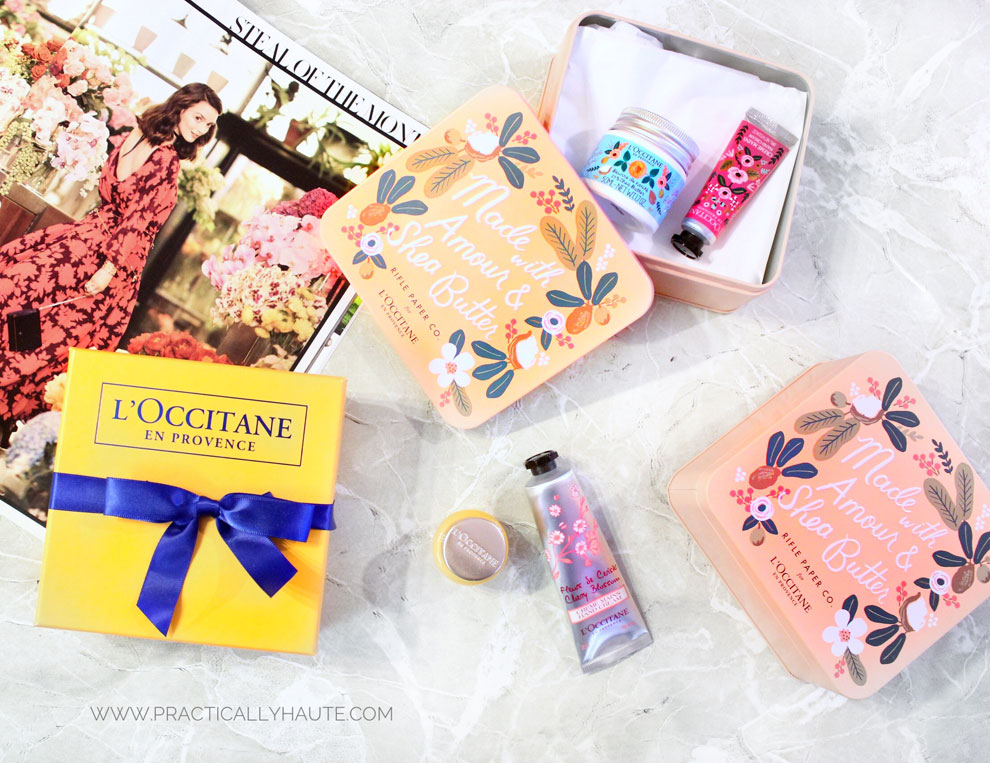 L'Occitane X Rifle Paper Co shea butter skincare freebie