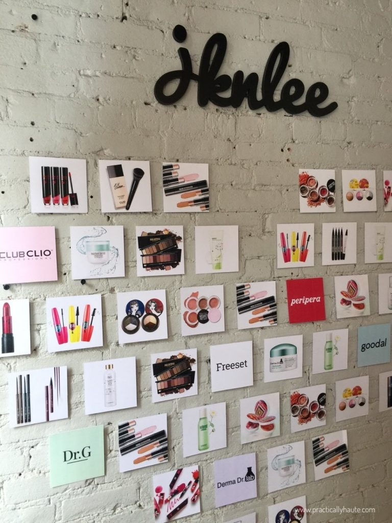 jknlee kbeauty sample sale wall