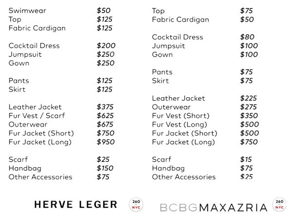 Herve Leger BCBG sample sale prices