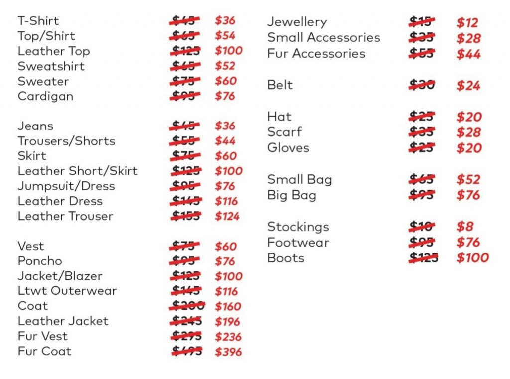 Maje sample sale price list