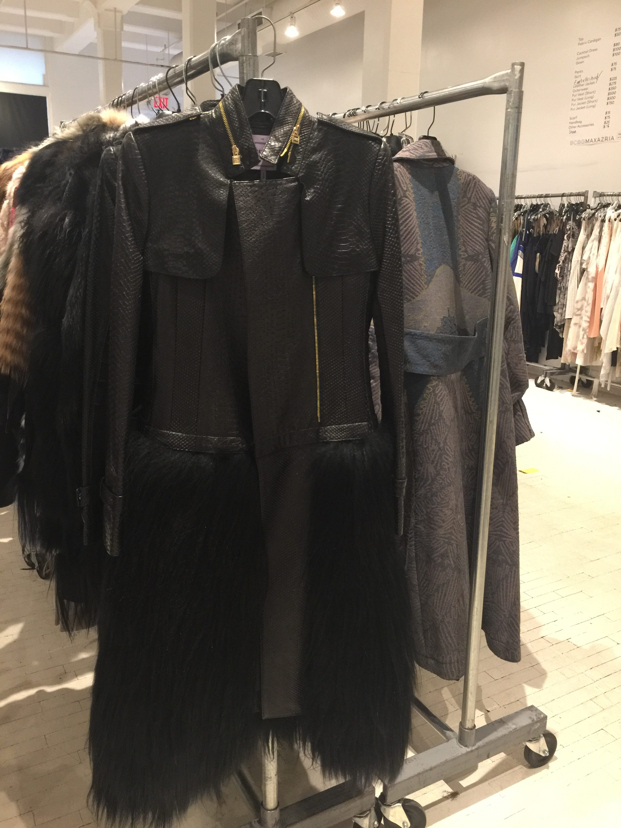 Herve Leger sample sale leather coat
