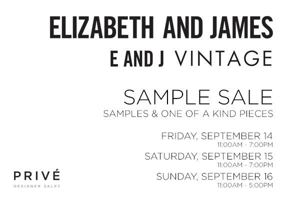elizabeth and james sample sale prive