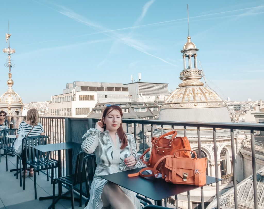 NYC fashion blogger visiting Paris rooftop cafe wearing Derek Lam white striped dress and Proenza Schouler PS1 orange bag