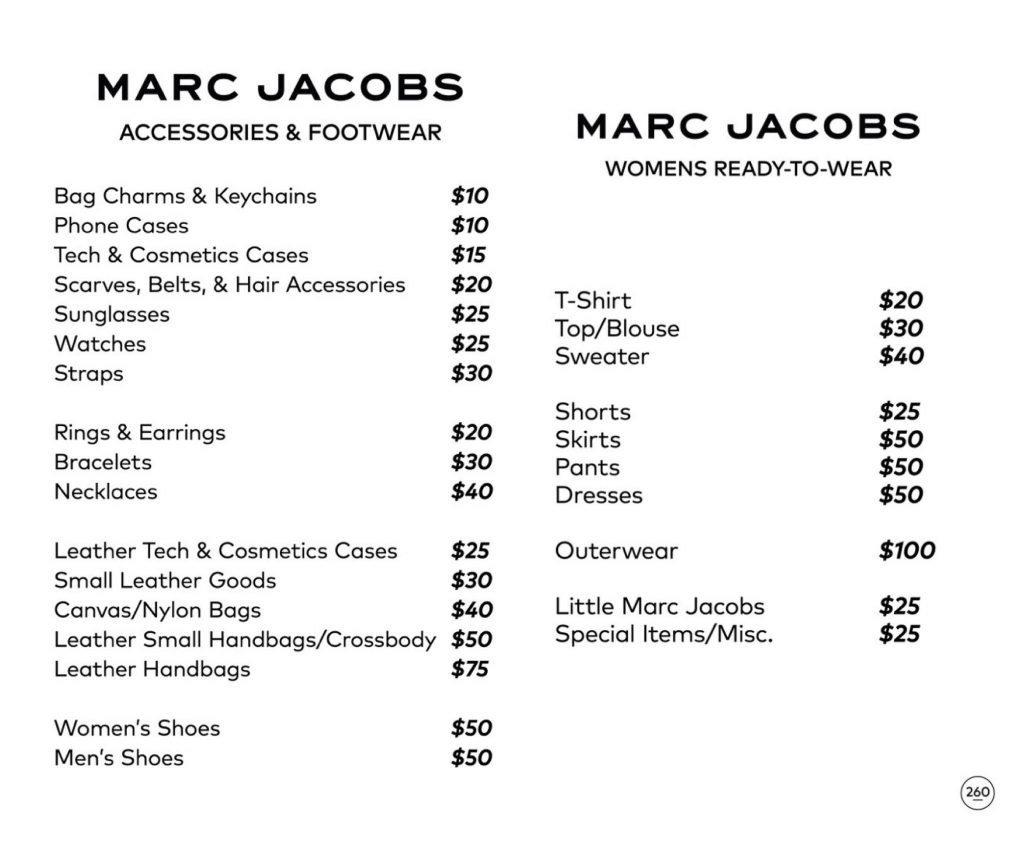 Marc Jacobs sample sale price list