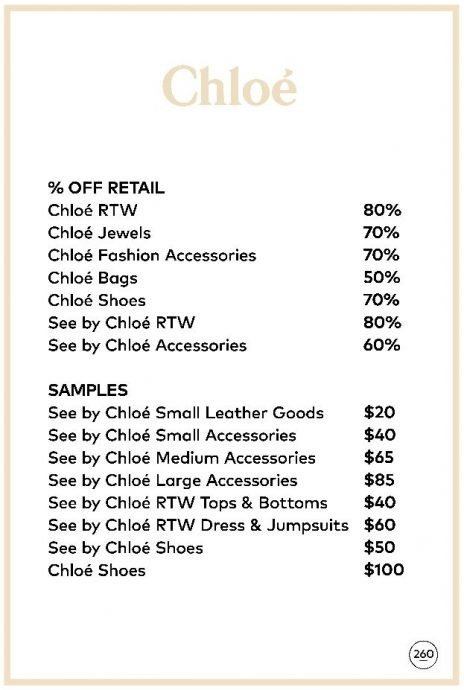 Chloé sample sale price list