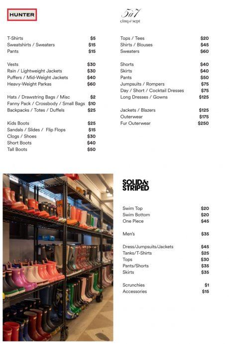 Hunter sample sale price list