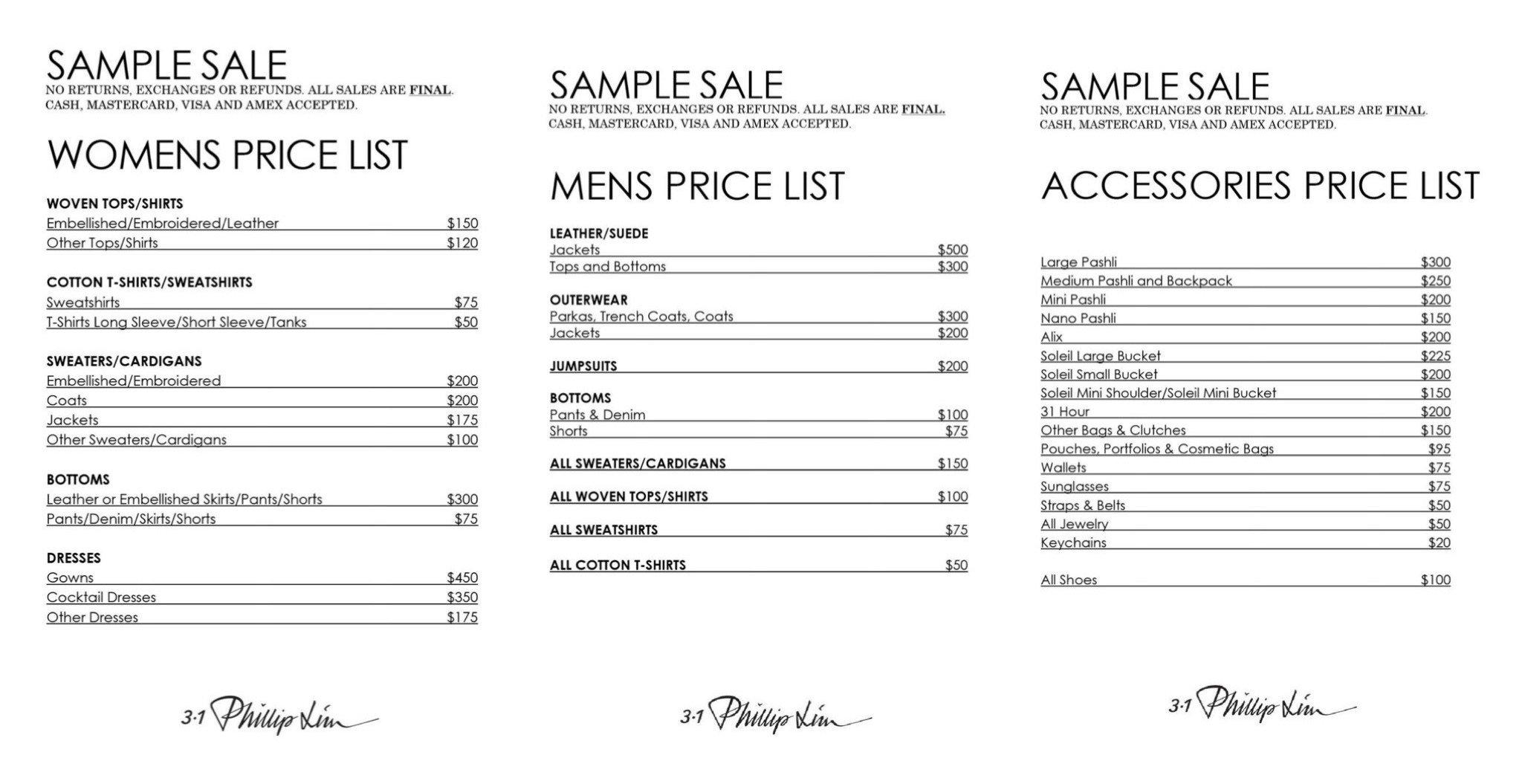 3.1 Phillip Lim NYC sample sale price list